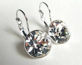 Swarovski Drop Earrings, Silver