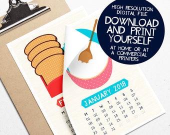 Printable Calendar, Foodie Calendar, 2018 Calendar, Kitchen Calendar, Food Illustration, Instant Download, Desk Calendar