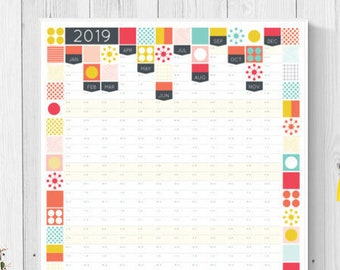 2019 wall planner 2019 calendar yearly organiser business etsy