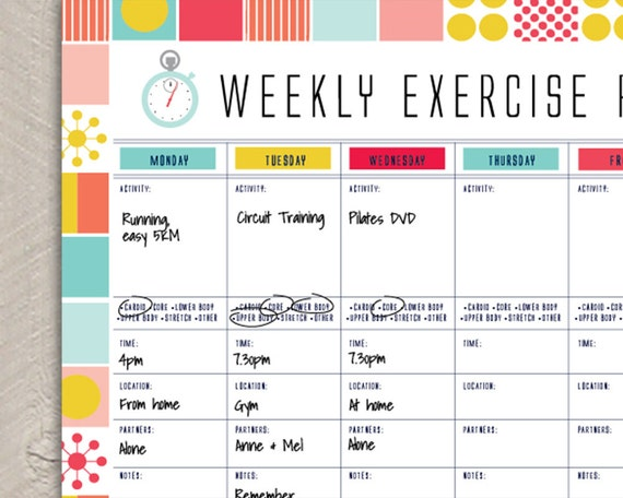 Printable Fitness Organiser Gym Diary Weekly Exercise