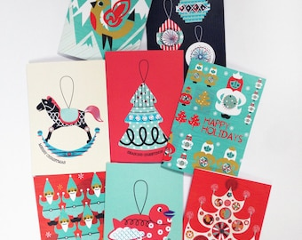 Christmas Card 8 Pack Modern Scandinavian Illustrations Rocking Horse, Robin, Christmas Tree, Baubles, Angels, Elves