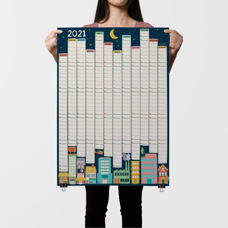2021 Planner Printable Wall Planner Illustrated Calendar image 0