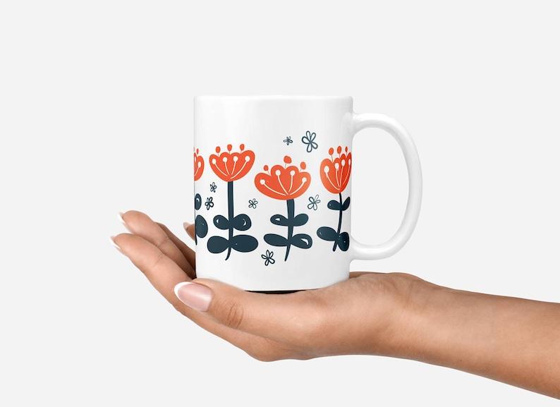 Coffee Mug Coffee Lovers Gift Mid Century Mug Retro Floral image 0
