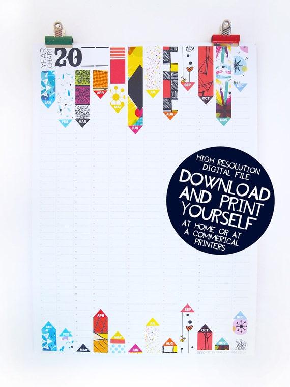 Perpetual wall planner printable calendar birthday calendar etsy image 0 solutioingenieria Images