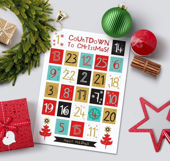Printable Advent Calendar Diy Advent Calendar Christmas Etsy
