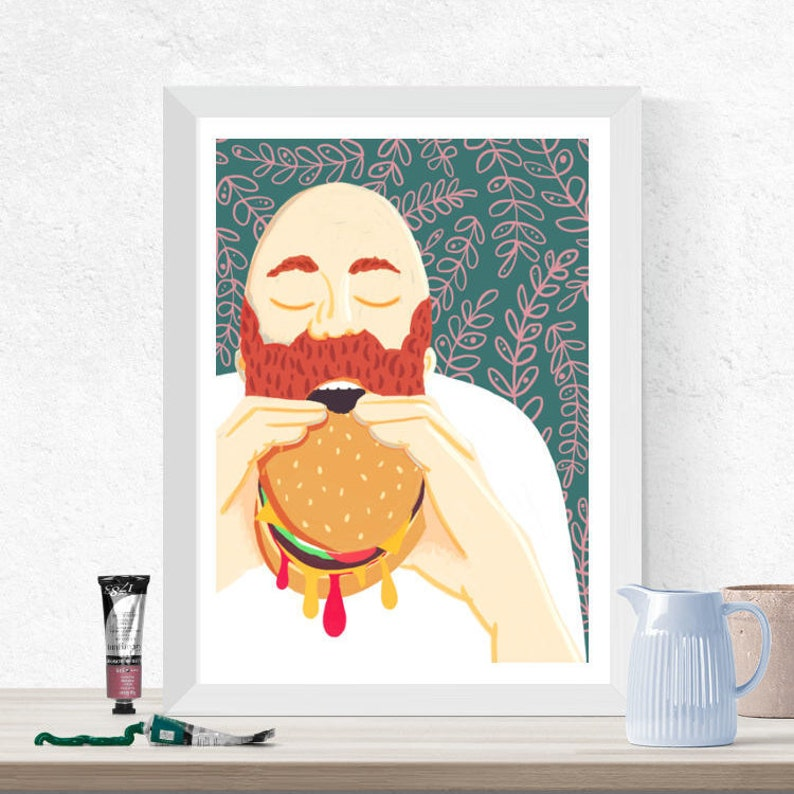Food Illustration Man Eating Burger Quirky Wall Art Kitchen image 0