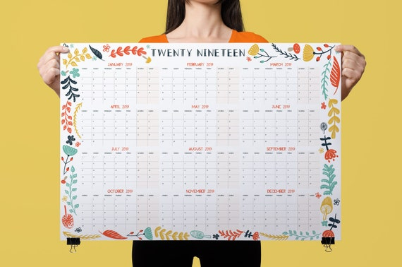 2019 wall planner yearly planner wall calendar 2019 etsy