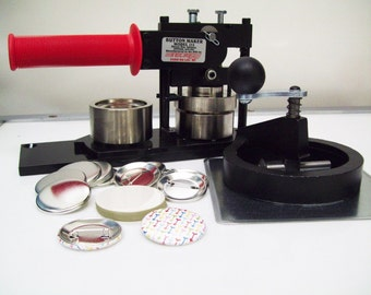 """1-3/4"""" Tecre Button Maker Machine, Rotary Cutter, 250 Pin Back Parts"""
