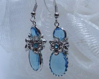Lovely Clear Blue Glass Earrings