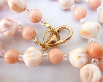 Unusual Double Cone Pink & White Necklace