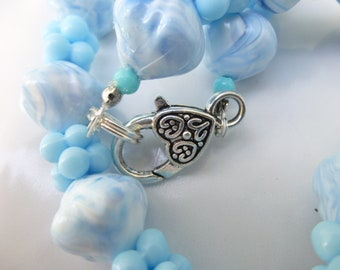 Pale Blue Shaped Beads Necklace