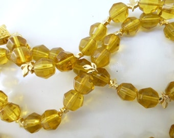 Amber Glass Necklace with Tiny Leaves