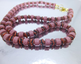 Pink and Red Striped beads Necklace