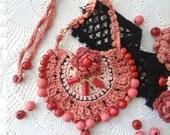 Sherbet Crochet Necklace,bohemian necklace,gypsy jewelry,mori necklace,oriental necklace,bohemian design,beaded necklae