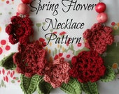 CROCHET PATTERN  Springflower necklace #2 - crocheted necklace, crochet flowers, flower necklace, crochet pattern, photo tutorial