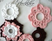 CROCHET PATTERN Cherry Blossom Necklace PDF Crochet Pattern  - crocheted flower necklace, crocheted rings, photo tutorial