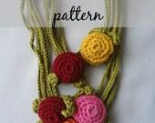 Crochet PDF Pattern Button Necklace - crochted necklace, crocheted buttons, crochet flowers, flower necklace, photo tutorial