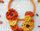 Golden Meadow Necklace,bohemian necklace,textile art, mori necklace,oriental necklace,bohemian design,beaded necklae