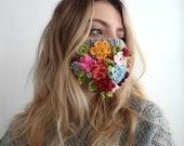 Bohemian Face Mask - crochet pattern. crochet flower mask, crochet mask, washable mask, decorative mask, face covering mask,