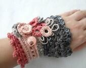 DIGITAL CROCHET PATTERN Roses in Bloom Crochet Cuff Pattern,crochet cuff,crochet bracelet,crochet accessory,crocheted lace, photo tutorial,