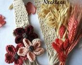 CROCHET PATTERN String Flowers Necklace - crocheted flower necklace, crocheted flowers, photo tutorial, statement necklace, textile art
