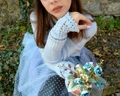 Crochet Pattern-Snow Princess Warmers,Bohemian Flower Warmers, boho warmers,cuffs,wrist warmers,crocheted warmers, wristwarmers