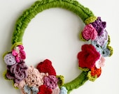 Spring Wreath- crochet wreath,embroidery hoop,crochet butterfly,homedecor, nursery decor, baby gift