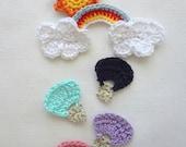 Crochet Pattern PDF - Hot Air Balloon, Rainbow, Cloud, Sun, applique, crochet photo tutorial, digital instructions