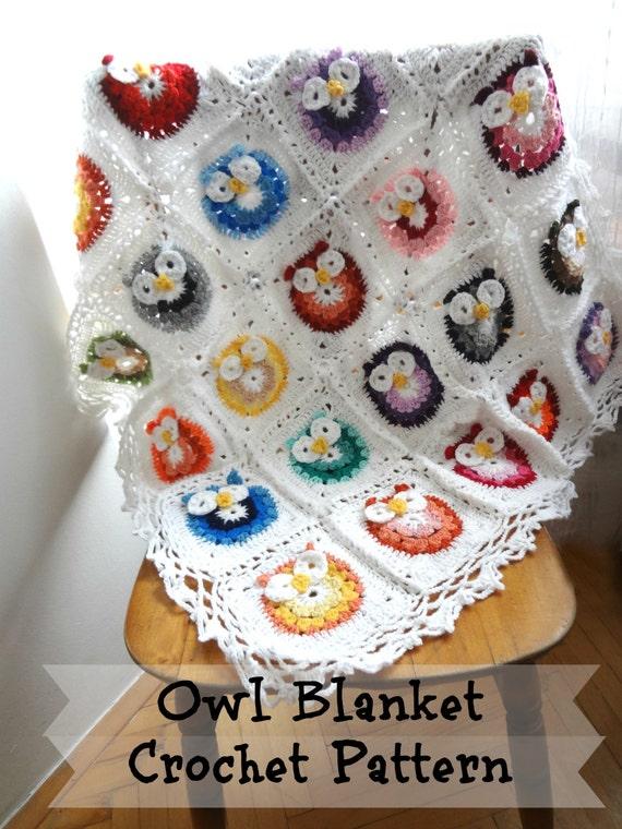Digital Crochet Pattern Owl Baby Blanket Patternphoto Etsy