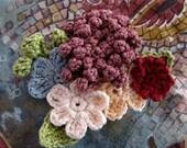 Crochet pattern-romantic bohemian brooch - crocheted flowers,crochet flower brooch,flower pin,crochet bouquet,flower bouquet, broach