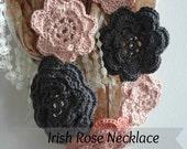 DIGITAL CROCHET PATTERN Irish Rose Crochet Patterns - crochet flower pattern, crocheted bohemian necklaces, instant download