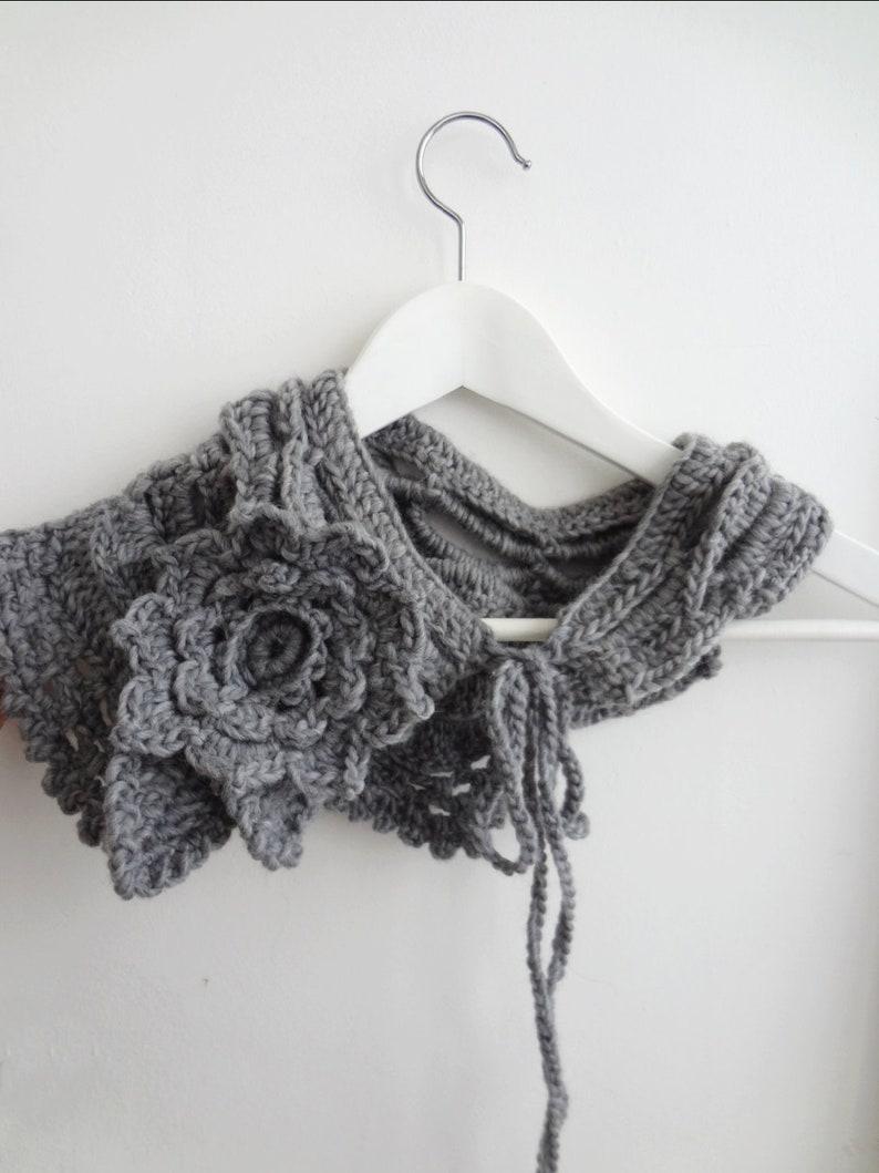 Yvette Crochet Scarflette & Hat-asymmetrical scarf statement image 0