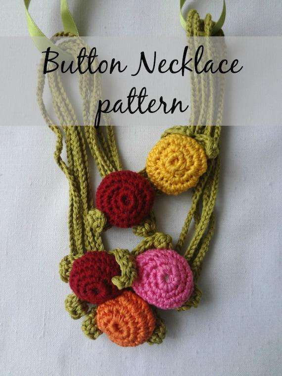Crochet Pdf Pattern Button Necklace Crochted Necklace Etsy