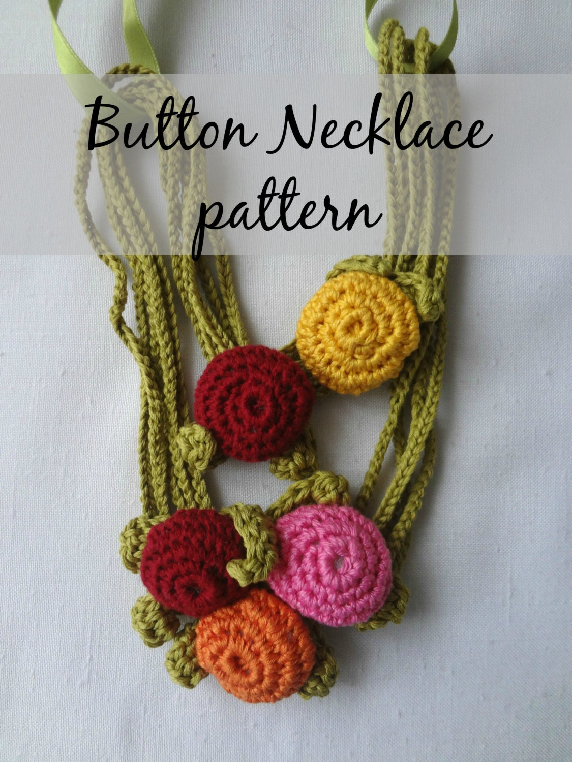 Crochet PDF Pattern Button Necklace - crochted necklace, crocheted ...