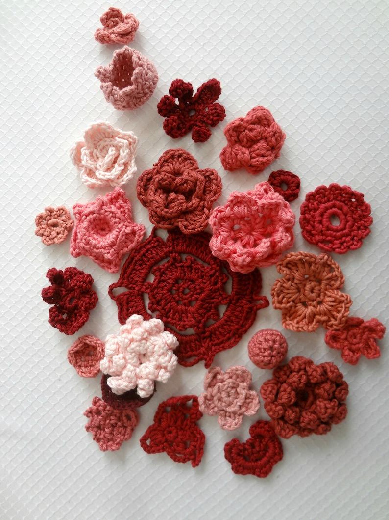 Burgundy RedPinkCoral Crochet Flower Kit-crochet image 0