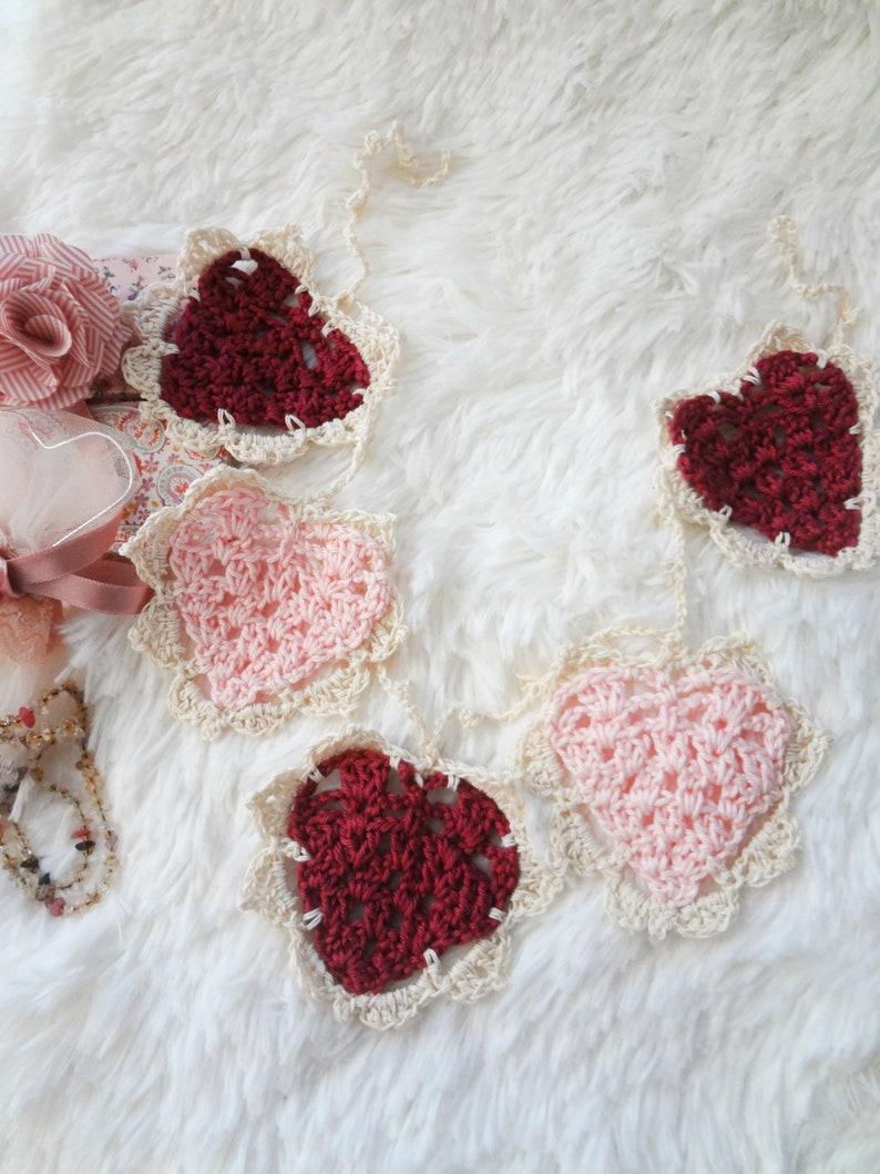 Crochet Pattern: Vintage Heart Bunting crochet bunting heart image 0