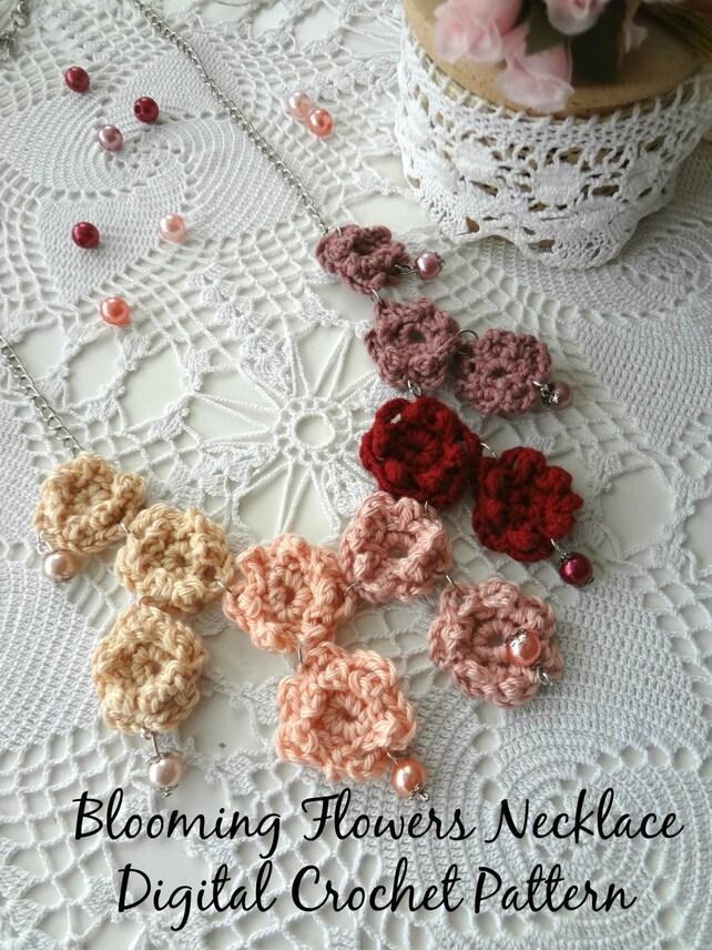 Digital Crochet Pattern Blooming Flowers Necklacecrochet Etsy