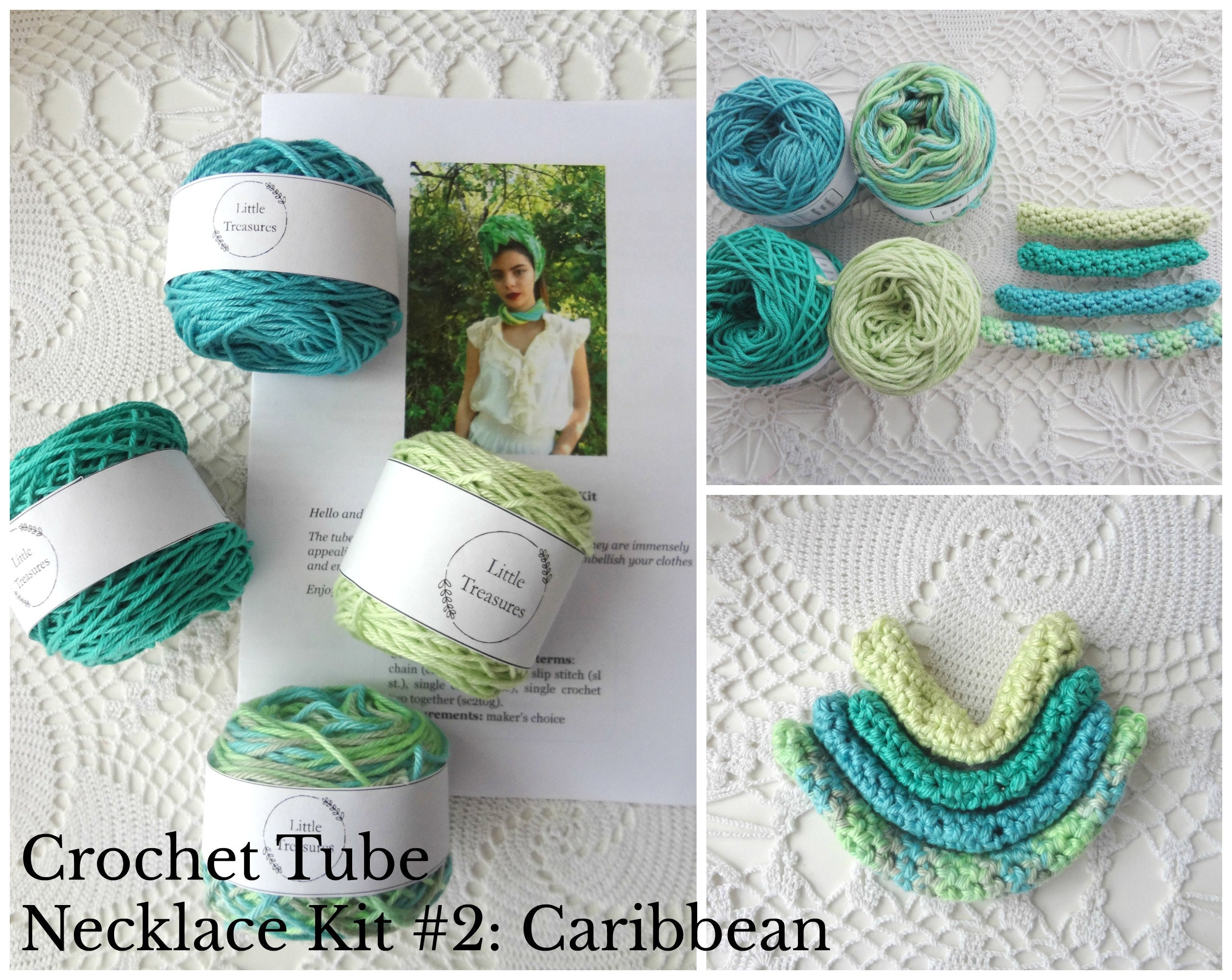 Crochet Tube Necklace Kit Yarn Pattern 2caribbeancrochet Etsy