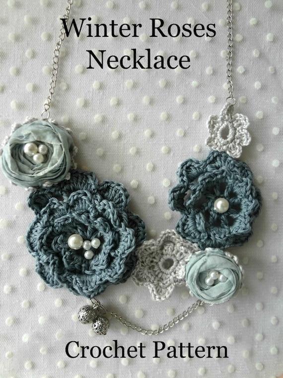 Crochet Pattern Winter Roses Necklace Irish Roses Crochet Etsy