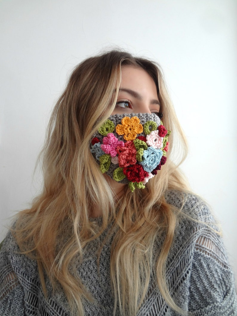 Bohemian Face Mask  crochet pattern. crochet flower mask image 0