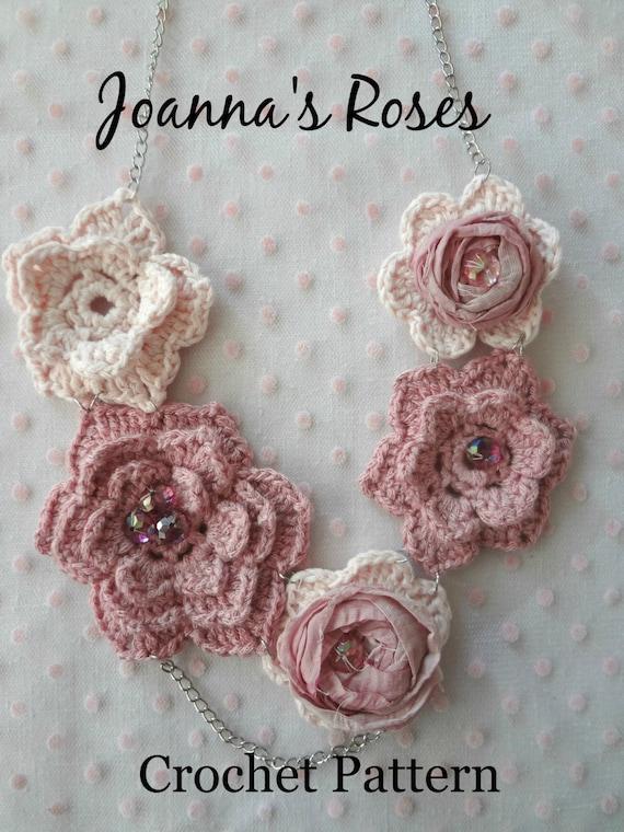 Crochet Pattern Joannas Roses Necklace Irish Roses Etsy