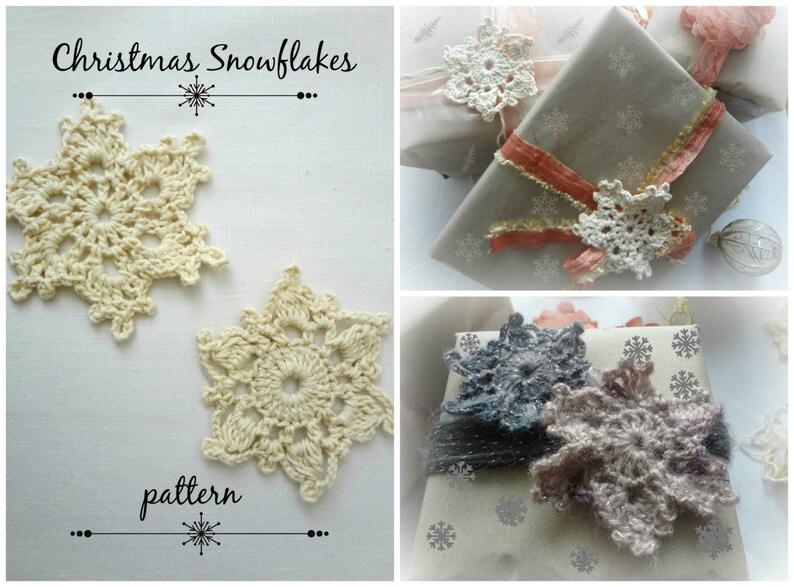 CROCHET PATTERN Snowflakes Crochet Pattern  Crocheted image 0