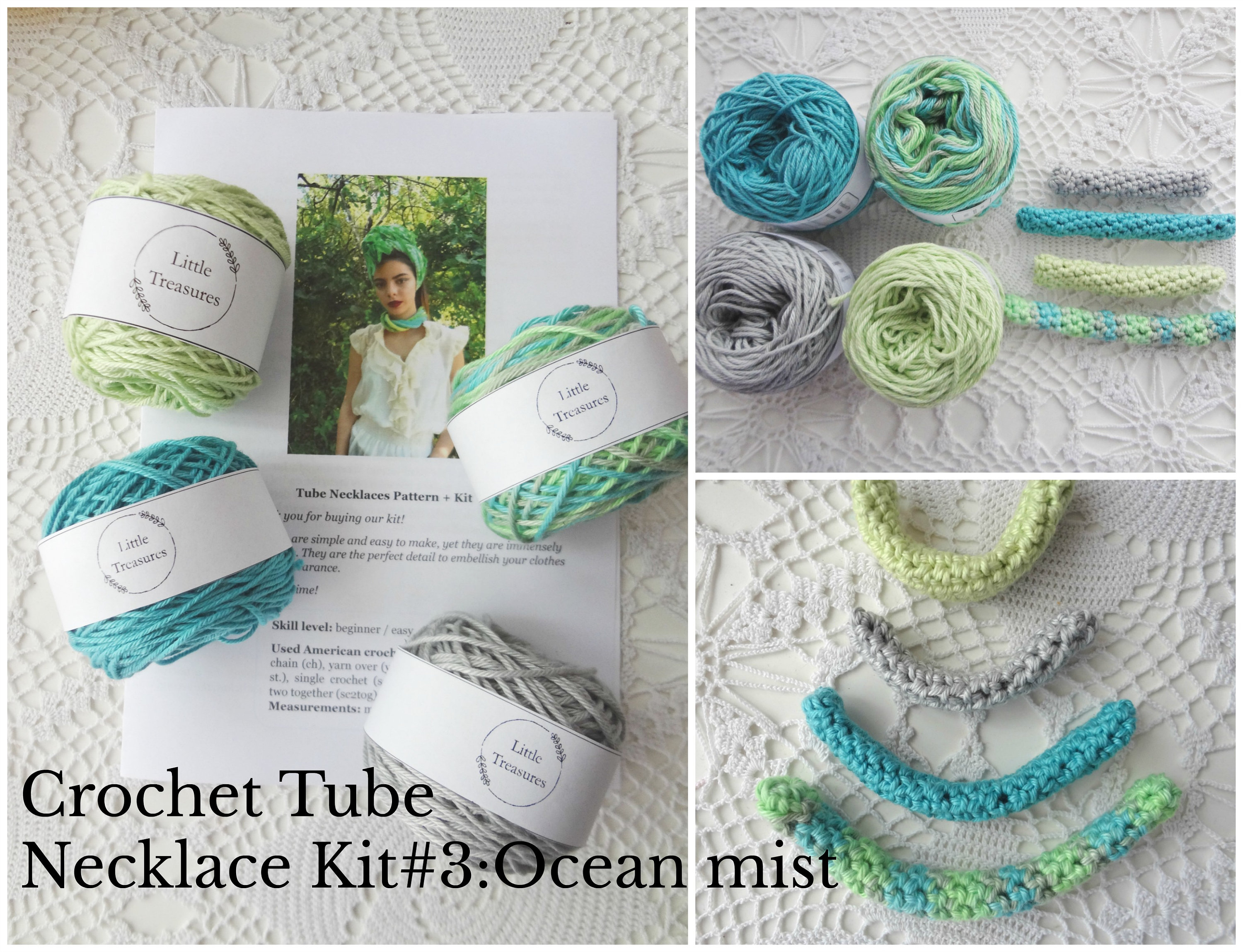Crochet Tube Necklace Kit Yarn Pattern 3ocean Mistcrochet Etsy