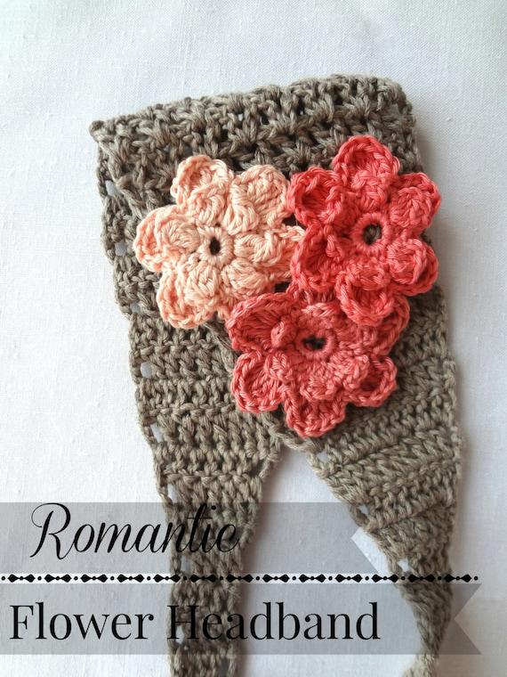 Crochet pattern romantic flower headband crochet pattern etsy image 0 mightylinksfo