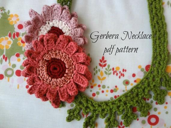 HÄKELN Muster Gerbera Halskette Halskette gehäkelte Blume | Etsy