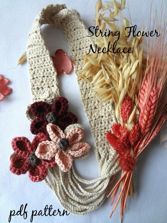 Crochet Pattern String Flowers Necklace Crocheted Flower Etsy