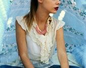 Pink & Ecru Oya Necklace,ecry and pink cord necklace,oya, crochet oya,mori necklace,romantic,bohemian