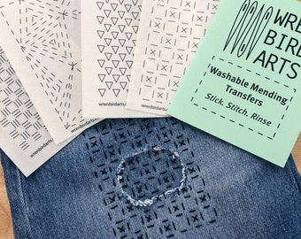 Visible Mending Transfer Patterns Series 4 Green Sticky Washable Mending Templates