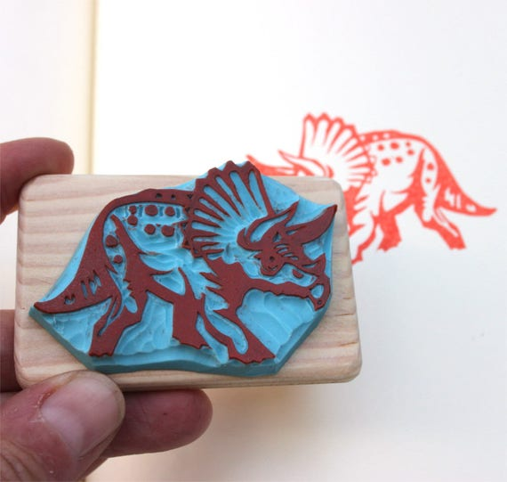 Triceratops Dinosaur Rubber Stamp Mounted Wood Block Art Stamp