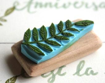 Bullet Journal border strip stamp, fern leaf, bujo, hand carved, wood mounted